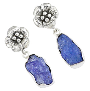 Natural Unheated Tanzanite Gemstone Solid .925 Silver Earrings - BELLADONNA