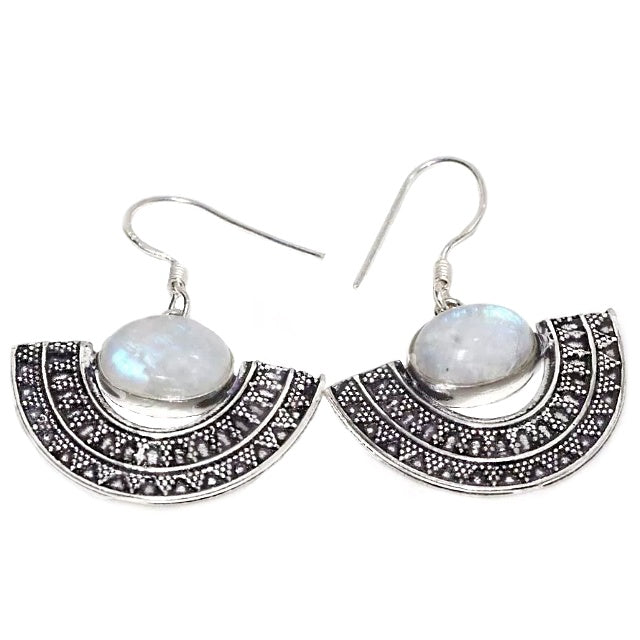 Natural Rainbow Moonstone Gemstone .925 Silver Earrings