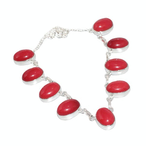 Vibrant Red Coral Gemstone .925 Sterling Silver Necklace - BELLADONNA