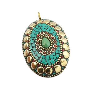 Nepalese Natural Green Onyx, Turquoise, Coral Gemstone Solid Brass Pendant - BELLADONNA