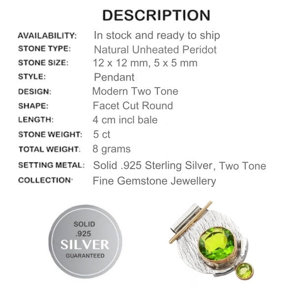 Two Tone 5 cts Natural Faceted Peridot Gemstone .925 Silver Pendant - BELLADONNA