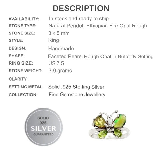 Natural Ethiopian Fire Opal Rough Peridot Gemstone Solid .925 Sterling Silver Sz 7.5