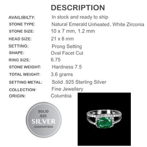 25.80ct Natural Colombian Emerald, Cubic Zirconia Solid .925 Silver White Gold sz 6.75 - BELLADONNA