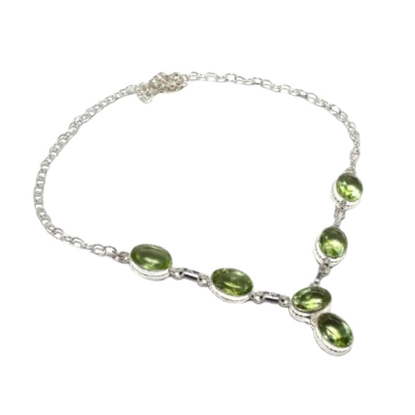 Pretty Faceted Peridot Gemstone .925 Silver Necklace - BELLADONNA