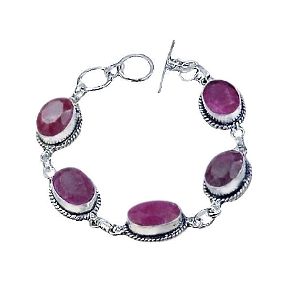 Indian Cherry Red Ruby Silver Plated Bracelet - BELLADONNA
