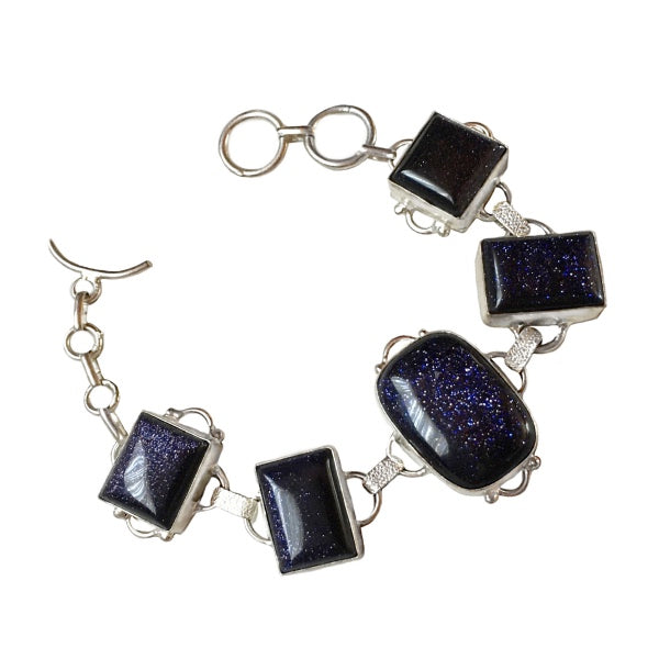Purple Sandstone set in .925 Sterling Silver Bracelet - BELLADONNA