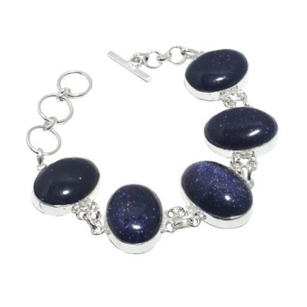 Purple Sandstone Oval Cabochons set in .925 Sterling Silver Bracelet - BELLADONNA