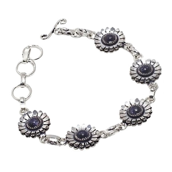 Purple Sandstone Florals set in .925 Sterling Silver Bracelet - BELLADONNA