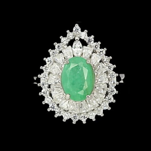 25.80 Cts Natural Zambian Emerald, Cubic Zirconia Solid .925 Silver Size 7 - BELLADONNA