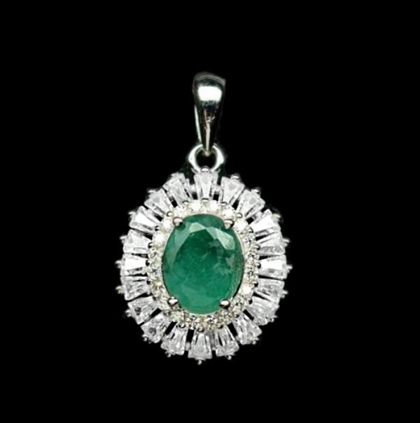 Earth mined Zambian Emerald ,White CZ Gemstone In Solid .925 Silver Pendant - BELLADONNA