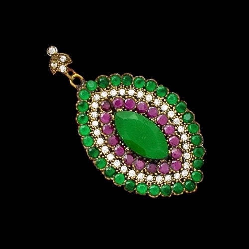 Two Tone Turkish Emerald, Ruby, White Topaz Gemstone In Solid .925 Sterling Silver Pendant - BELLADONNA