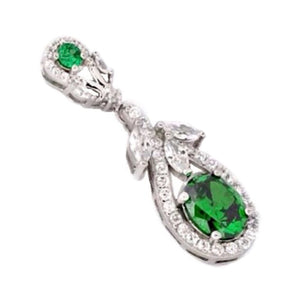 9.31 Cts Chrome Diopside, White Topaz In Solid .925 Sterling Silver Pendant - BELLADONNA