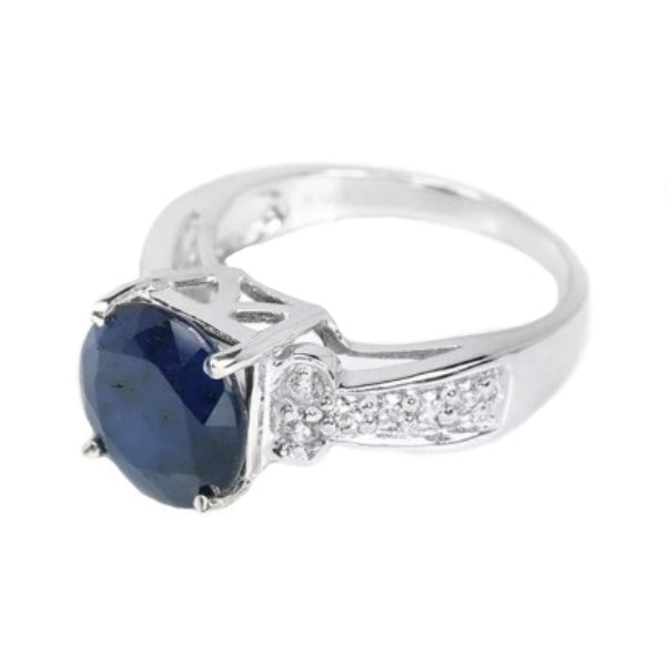 Outstanding Natural Blue Sapphire, White Cubic Zirconia Solid .925 Sterling Silver Ring Size 6.5 - BELLADONNA