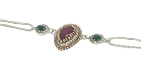 Turkish Faceted Emerald, Ruby Gemstone .925 Sterling Silver, Solid Brass Bracelet - BELLADONNA