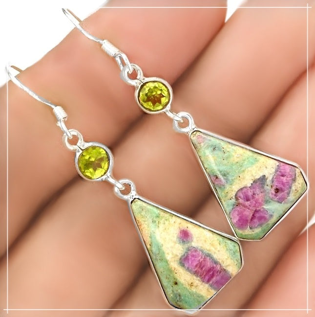 Natural Ruby In Fuschite, Peridot In Solid .925 Sterling Silver Earrings Set - BELLADONNA