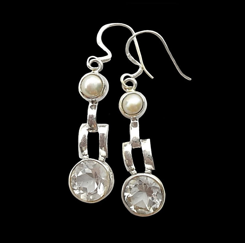 Natural White Topaz and White Pearl Solid .925 Silver Earrings - BELLADONNA