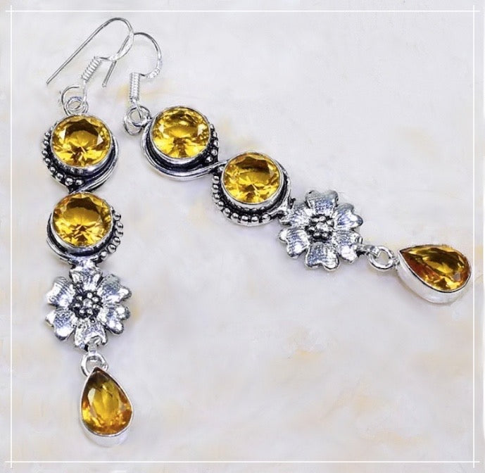 Eye Catching Long Faceted Citrine set in .925 Sterling Silver Earrings - BELLADONNA