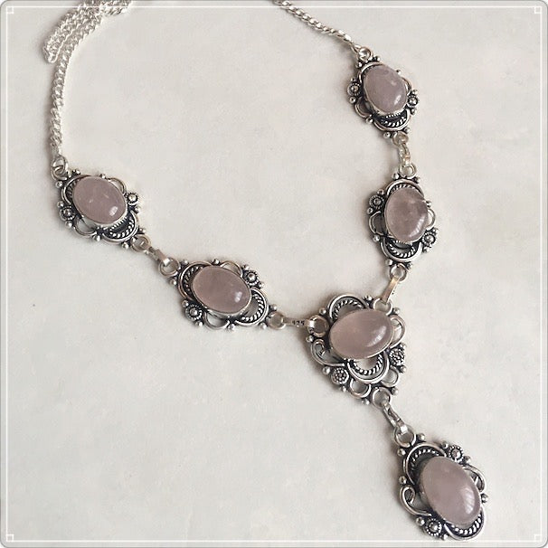Feminine Pink Rose Quartz Necklace .925 Sterling Silver - BELLADONNA