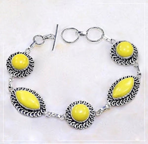 Gorgeous Yellow Agate Gemstone .925 Silver Bracelet - BELLADONNA