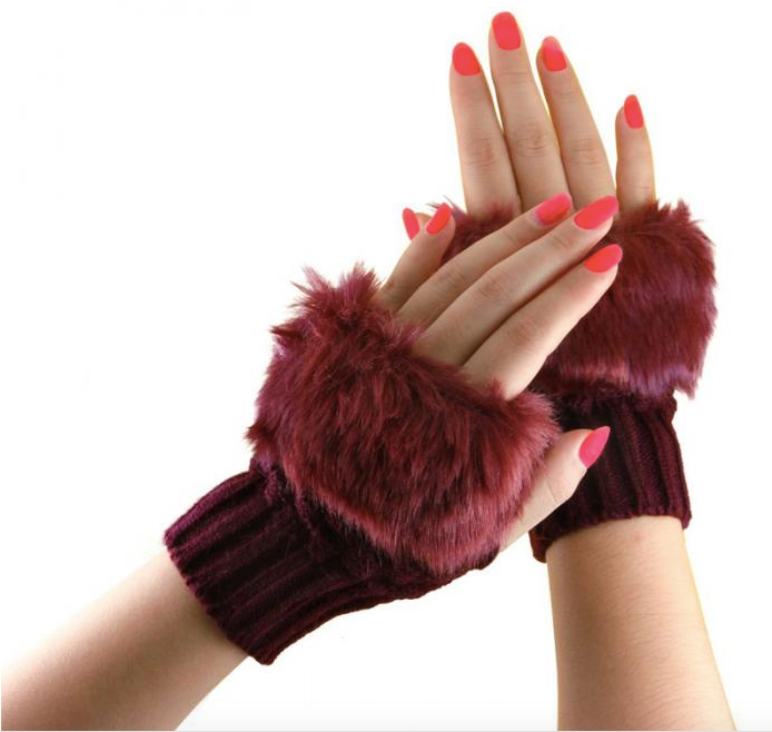Half Finger Knitted Gloves With Faux Fur Finish - BELLADONNA
