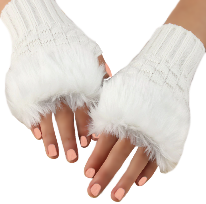 Glamorous & Practical Half Finger Knitted Gloves With Faux Fur Finish - BELLADONNA