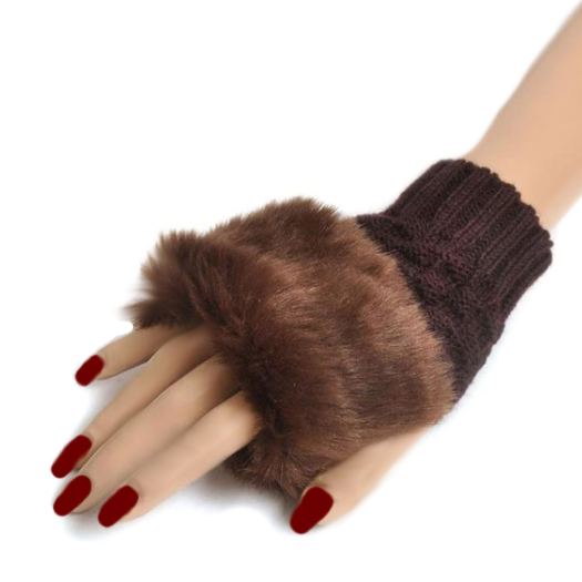 Fingerless Knitted Gloves With Faux Fur Finish - BELLADONNA