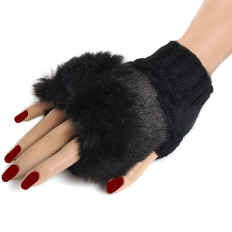 Glamorous & Practical Fingerless Knitted Gloves With Faux Fur Finish - BELLADONNA