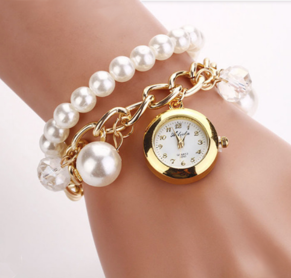 Women's Gold and Pearl Analog Stainless Steel Watch Bracelet - BELLADONNA