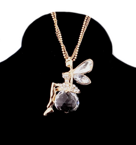 Crystal Wings Fairy Long  Chain Fashion Necklace - BELLADONNA
