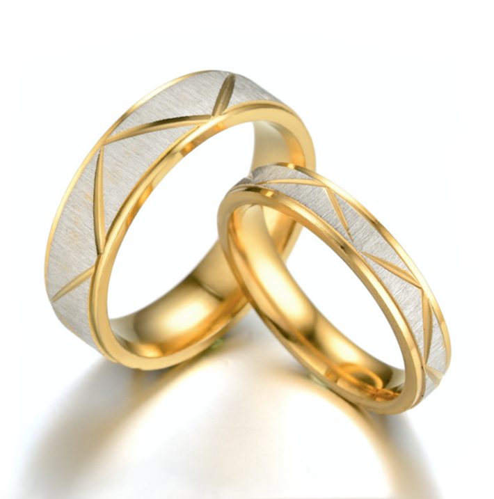 Titanium Steel Couples Ring with 24K Gold in a Modern Design - BELLADONNA
