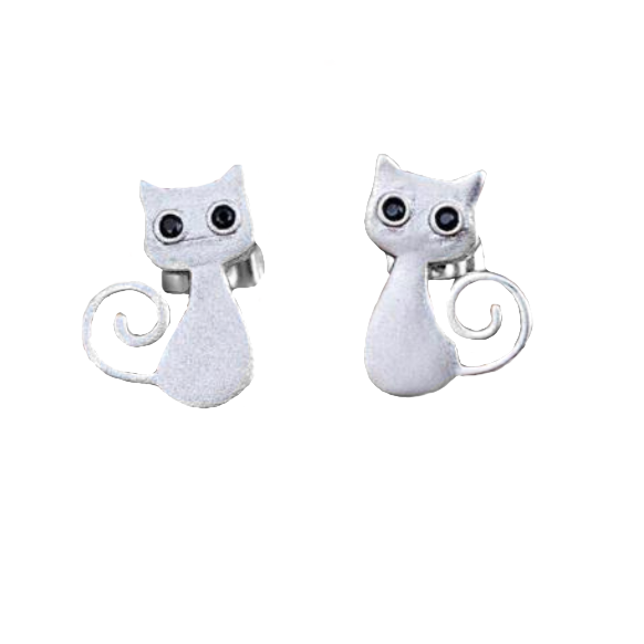 Adorable Dainty Cat Lovers Silver Stud Earrings - BELLADONNA