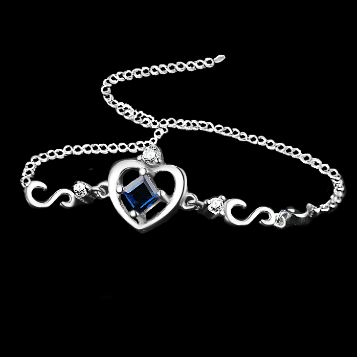 Natural Blue Sapphire Set in .925 Sterling Silver Bracelet - BELLADONNA