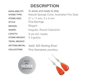 New Arrival Natural Sponge Coral, Fire Opal Solid .925 Sterling Silver Earrings - BELLADONNA