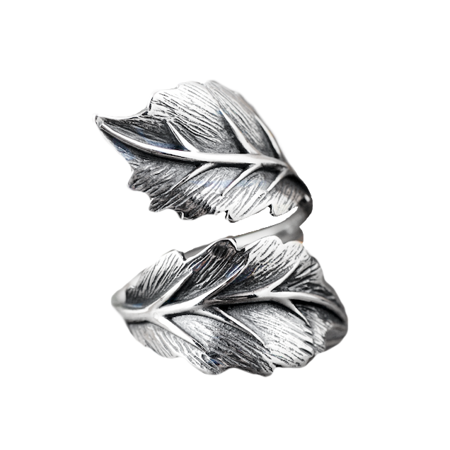 S925 Silver Leaf Ring Adjustable Size - BELLADONNA