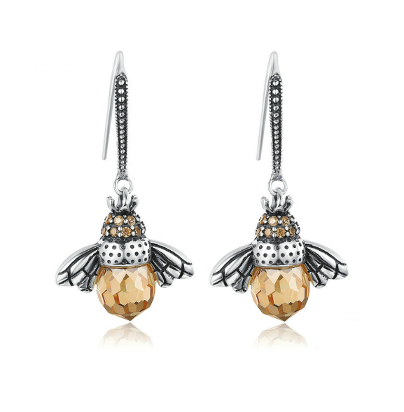 Elegant Bee Shape with Cubic Zirconia and Crystal .925 Sterling Silver earrings - BELLADONNA
