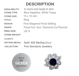 Blue Sapphire , White Topaz Floral Setting Solid.925 Sterling Silver Ring Size 8 - BELLADONNA