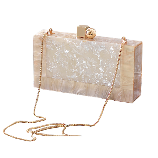 Women's Elegant Mottled Off White Acrylic Clutch Handbag with Shoulder Chain