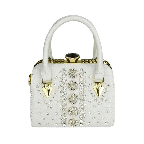 Women's Trendy Snake Patterned  and Crystals Fashion Handbag in Black, White or Gold