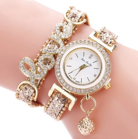 Womens Top Brand Bracelet Quartz Watch with Leather Strap and Crystal Charms