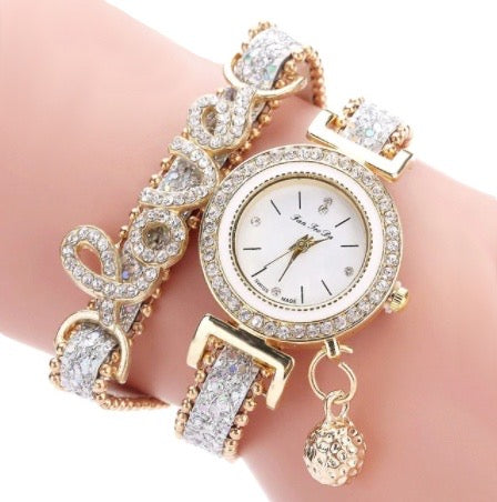 Womens Top Brand Bracelet Quartz Watch with Leather Strap and Crystal Charms - BELLADONNA