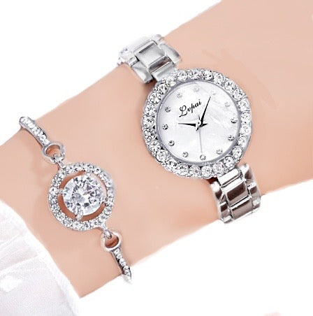 Womens Luxury Brand Quartz Watch and Bracelet Set with Sparkly Crystal Accents