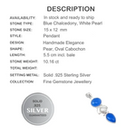 10.16cts Natural Blue Chalcedony, Pearl Solid .925 Sterling Silver Pendant