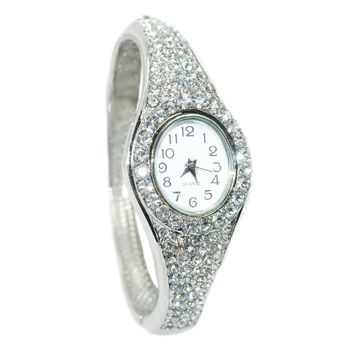 Exquisite Full Diamanté Bracelet Watch in Silver or Rose Gold