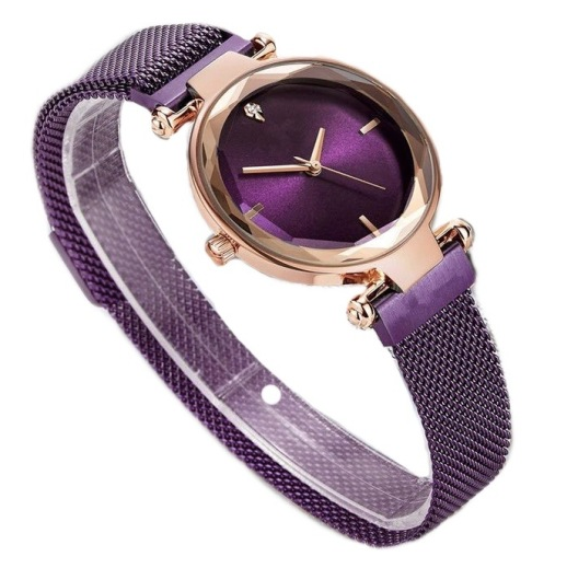Women's Relogio Feminino Magnetic Watch Strap Wristwatches in Rose Gold and Deep Purple