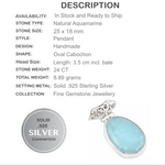 24 ct Natural Aquamarine Gemstone Solid .925 Sterling Silver Pendant - BELLADONNA