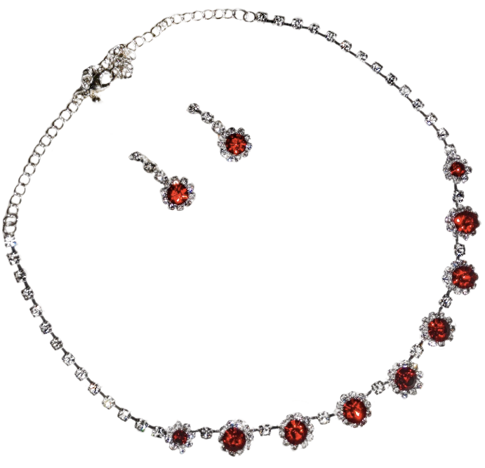 Red Rhinestone Crystals, Diamante Bridal, Evening Wear Necklace And Stud Earrings Set - BELLADONNA