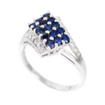 Natural Blue Sapphire, White Cr Diamonds Solid .925 Silver Ring Size 9 - BELLADONNA