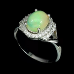 17.07 Cts Ethiopian Fire Opal Cz Gemstone Solid .925 Sterling Ring Size 9 - BELLADONNA