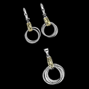 Italian Designed Two Tone Cubic Zirconia Solid .925 Sterling Silver Pendant & Earrings Set - BELLADONNA