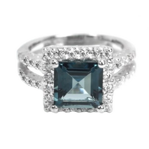 Natural London Blue Topaz Cz Gemstone Solid .925 Sterling Silver Size 5.5 - BELLADONNA
